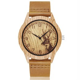 imitations watches UK - Animal Deer Imitation Wood Watch Men Women Couple Wristwatch Imitate Wooden Watches Acrylic Case Male Brown Wrist Clock Reloj