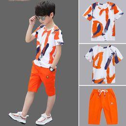 $enCountryForm.capitalKeyWord Australia - Boys Clothing Sets Summer 2019 Cotton Teenage Kids Boys Suit For 4 6 8 10 12 14 Years Children Short Sleeve Shirt Shorts Set