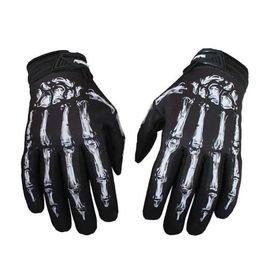 Motorcycle fitness online shopping - Men Outdoor Fitness Gloves Mittens Skeleton Skull Bone Full Finger Gloves Jeaz for Cycling Biker Racing Motorcycle
