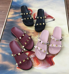 backless strap NZ - Women Flats Mules studded T-strap sandal pointed toe backless woman shoes fashion rivets slip on leather sandals pu party