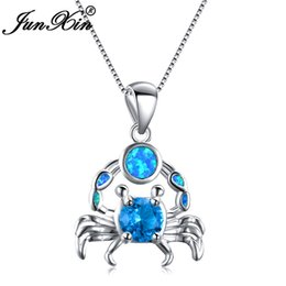 crab jewelry UK - JUNXIN Cute Crab Pendant Blue White Fire Opal Necklaces For Women 925 Sterling Silver Filled Purple Zircon Stone Wedding Jewelry