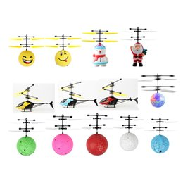Wholesale helicopter big online – design Mini RC Aircraft Flying Doll Snowman Baby Christmas Santa Claus Facial Expression Bright Ball Electric Induction Drone Helicopter Toy