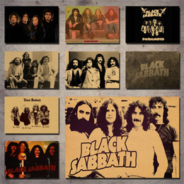 mirror sticker paper NZ - Black Sabbath band retro decorative wall sticker retro poster kraft paper poster