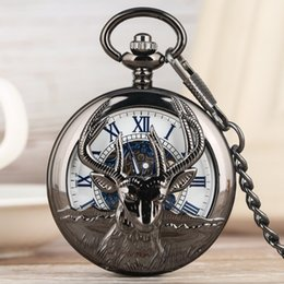 Black Hand Pendant Australia - Black Goat Hollow Out Hand-winding Mechanical Pocket Watch Alloy Thick Chain Pendant Watch Roman Numeral Dial Pocket Watches for Men