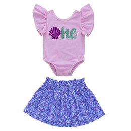 $enCountryForm.capitalKeyWord NZ - Baby Girl Rompers Suits Letter Shell Scale Printing Rompers Skirt Suits Trumpet Sleeve Round Collar Jumpsuits Baby A-line Skirt Suits 6-18M
