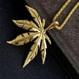 Necklaces Pendants Australia - Hip Hop Gold Plated Men Necklace Fashion Designer Leaf Pendant High Quality Cuban Chain Groom Accessories