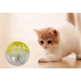 $enCountryForm.capitalKeyWord Australia - 1PC Plastic Small Cat Pet Sound Toy Cat Toys Hollow Out Round Pet Colorful Playing Ball Toys With Small Bell Products