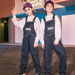 Wholesale dance jeans resale online – designer Children Ropa Hip Hop Dance Clothes Kids New Jeans Overall Hip Hop Costume Girls Ballroom Performance Clothing Kids