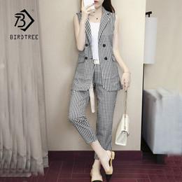 $enCountryForm.capitalKeyWord Australia - New Arrival Of Women Plaid Two -row Kerb Blazer Vest & High Waist Trousers Elegant Office Dame Blazer Suits Hots S86413fd Y19071301