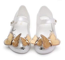 Cute Kids Shoes Mini Melissa Girls Princess New Jelly PVC Sandals Butterfly girls Baby Summer Shoes 3 Colors