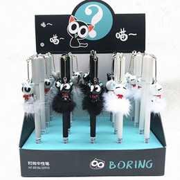 $enCountryForm.capitalKeyWord NZ - 20pcs Gel Pens Kawai Pendant Cat black colored gel-inkpens for writing Cute stationery office school supplies
