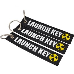 Label Keys Keyring Australia - Keychain LAUCH KEY Embroidered Canvas Color Optional Woven Keyring Luggage Tag Label Key chain Aviation Gift For Adults Kids