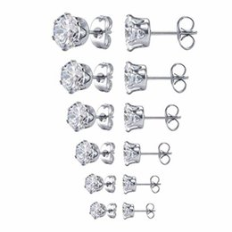 piercing jewelry ear stud Australia - Fashion Jewelry Women's Stainless Steel Ear Stud Piercing Cute Earrings Round Clear Cubic Zirconia Stud Earring