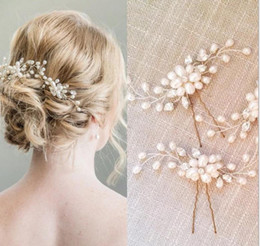 wholesale crystal hair clips NZ - Korean bride hairpin wedding jewelry pearl crystal beaded hairpin U-shaped clip wedding dress hair styling accessories