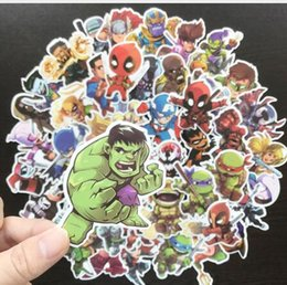 Wholesale DHL free Cute Waterproof Super Hero Stickers For MARVEL DC Graffiti Sticker For Skateboard Luggage Laptop Notebook Guitar Car