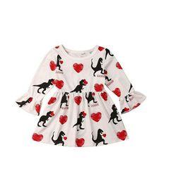 Baby Girl Tutu Dress Love UK - 2019 Valentine's Day Baby Girls Flare Sleeve Dress Children Love Heart Dinosaur Print Long Sleeve Dance Princess Dresses Kids Clothing TuTu