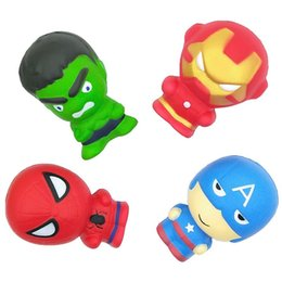 Plastic sPiders free shiPPing online shopping - INS Styles PU Squishy Decompression Toys Captain American The Hulk Comeics Spider Men Designs Kids Children Toys