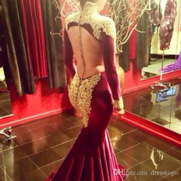 Mermaid Prom Dresses Opened Front Australia - Burgundy Mermaid Velvet Prom Dresses With Gold Appliques Open Front Long Sleeves High Neck Evening Gowns Plus Size Party Dresses