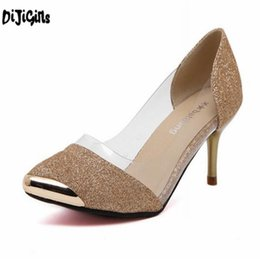 Selling high heel ShoeS online shopping - Dress Hot Selling Pvc Women Wedding Pumps Black gold silver Pointed Toe High Heel Shoes For Women