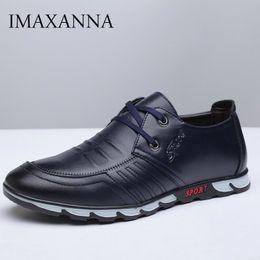 $enCountryForm.capitalKeyWord Australia - IMAXANNA 2019 New Men Casual Shoes Men Leather Shoes Lace Up Man Business Office Fashion Soft Shoe Blue Brown Colour Top Quality