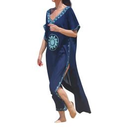 $enCountryForm.capitalKeyWord UK - Summer Women Embroidered robes beach skirt Embroidery Cotton Beach Cover up Swimsuit Bikini Tunics for Print Beachwear #P5