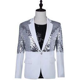 1d0f68fb Punk Rock Costumes UK - singers silver sequins blazer men suits designs  korean jacket mens stage