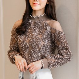 ac8eefa285ec5b Coffee rose white women top 2019 Fashion Blouses Shirts autumn Spring long  Sleeve Cold Shoulder Tops Causal Pleated Blusas 907G