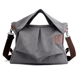 Bucket Handles Wholesale Australia - YAGO Distressed Canvas Bag Pleated Hobo Totes with Ruched Canvas Handle School Beach Tote Jumbo Crossbody bag 3pcs