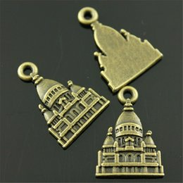 $enCountryForm.capitalKeyWord Australia - 150pcs Charm Baroque Castle Vintage House Charms Pendant For Jewelry Making Antique Bronze Color Castle Charms 16x23mm