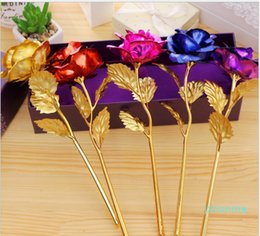 golden wedding roses NZ - Lover ' ;S Flowers 24k Golden Rose Wedding Decoration Golden Flower Romantic Valentine ' ;S Day Decorations Gift Gold Rose