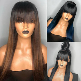 ombre hair brown blue Canada - High quality Blue Wig Ombre Lace Front Bang Wig Colored synthetic hair cosplay Wigs With Bang 13x4 Brown Color Straight Lace Frontal Wigs