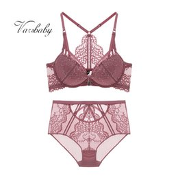 $enCountryForm.capitalKeyWord Australia - Varsbaby women' sexy floral lace front closure underwear Y-line straps bra sets