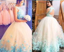 $enCountryForm.capitalKeyWord Australia - Romantic 3D Floral Flowers Ball Gown Champagne Aqua Evening Dresses Formal Gowns Two Pieces Tulle Applique Beads Pageant Prom Dress Cheap