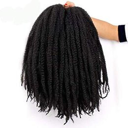 marley hair for braiding 2019 - Afro Marley Braid Hair Extensions Kanekalon Synthetic Twist Crochet Braiding Hair for Women 18 inchs(1B#) Afao Kinky Twi