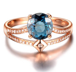 jade gemstone rings NZ - Women's Double-layer Open Ring with Adjustable Imitation Natural Blue Tourmaline Colored Gemstone and Zircon Ring