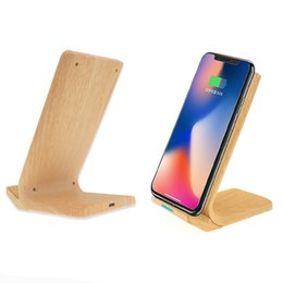Bambus Wireless Charging Custom Logo Holz Wireless Charger Stand für iPhone 8 8Plus X XS Max für Samsung S8 S9 S10