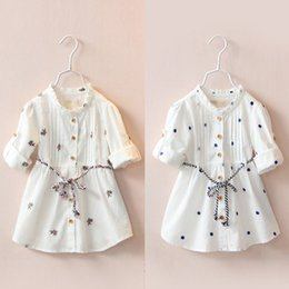 $enCountryForm.capitalKeyWord Australia - 2018 Spring Autumn Female Children's Clothing Baby Kids Girls Cotton Embroidery Print Long Short Sleeve White Dresses With Belt Y19061801