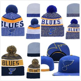 Wholesale Men s St Louis Blues Ice Hockey Knit Beanie Embroidery Adjustable Hat Embroidered Snapback Caps Blue White Stitched Knit Hat
