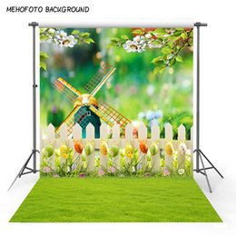 Discount backdrop computer painted scenic background - 5x7ft vinyl photography backdrop easter windmill grass tress flower computer printing newborn photo studio photo backgro