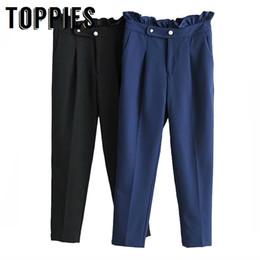 $enCountryForm.capitalKeyWord Australia - 2019 Spring Summer Ruffles Harem Pants Pearl Button Korean OL Slim Black Suit Pants Boyfriend Style High Waist Loose Trouser