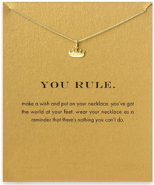 Wholesale slide rules resale online - Crown Pendant You Rule Alloy Gold Silver Necklaces Short Chain Necklace For Women Choker Jewelry Gifts With Card No Dogeared Logo