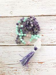 $enCountryForm.capitalKeyWord NZ - 108 Mala Beads Necklaces Hand Knotted Purple Quartz Necklace Meditation Necklaces Tassel Necklace Yoga Mala Bead Best Gift J190711