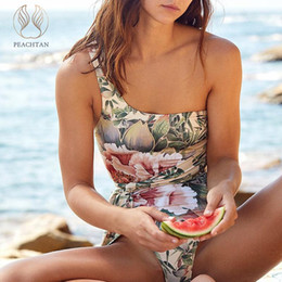 one shoulder bathing suit bikini Australia - Peachtan Floral print bikini 2019 One shoulder one-piece suits Push up swimwear women Sexy swimsuit female backless bathing suit