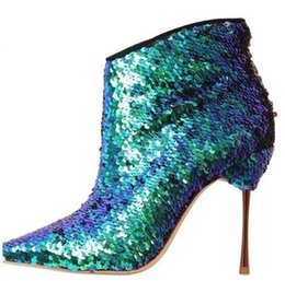 Wholesale Women Multicolor Sequin Embellished Pointed Toe Ankle Boots Fashion Bling Bling Metallic Leather Side Zipper Short Booties