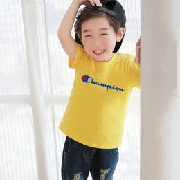 787310ea2e3e5 kids boys and girls outfit children's wear 2019 new champion baby short  sleeve T-shirt boys cuhk children girls' top summer style