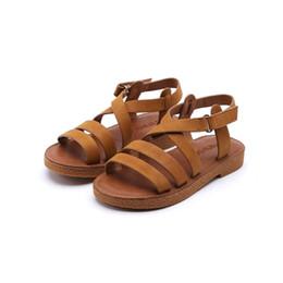 Baby Girl Cute Sandals Australia - New Fashion Summer Baby Girl Beach Pu Leather Gladiator Sandal Children Cute Black Soft Flat Little Kid Shoe