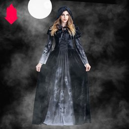 Female movie costumes online shopping - Hot Halloween Costumes Designer Womens Dresses for Halloween Horror Witches Cosplay Clothing with Printed Fashion Suits with Cloak dresses