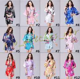 a4723981de 12 Colors S M L XL XXL Sexy Women s Japanese Silk Kimono Robe Pajamas  Nightdress Sleepwear Broken Flower Kimono Underwear D054