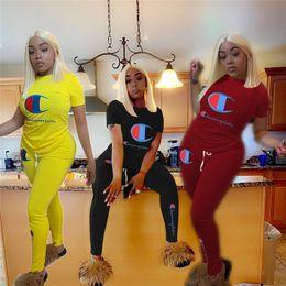 $enCountryForm.capitalKeyWord Australia - Champion Designer Women Clothes Two Piece Summer Outfits T shirt + Pants 2 Piece Tracksuit Sportswear Sports suit Joggers Caual Set A52705