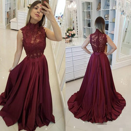 Pink lace maternity dresses online shopping - Burgundy High Neck Prom Dresses Lace Applique Sleeveless Illusion Beaded Satin Sweep Train Covered Buttons Evening Gown Formal Occasion Wear